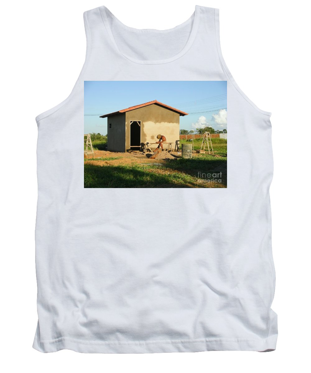 Abadiania Tank Top featuring the digital art Man At Work by Carol Ailles