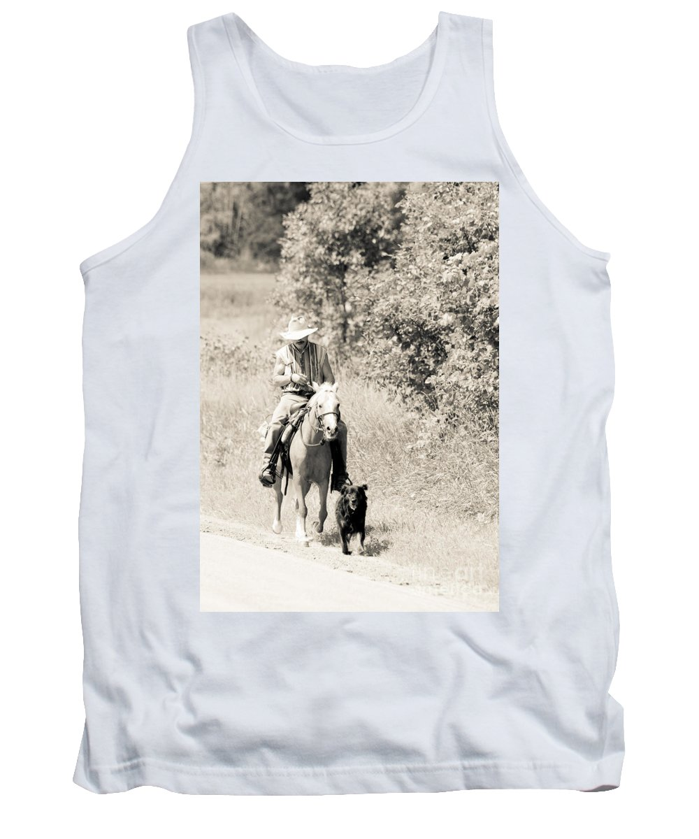 Rustic Scene Tank Top featuring the photograph Man Horse And Dog by Cheryl Baxter