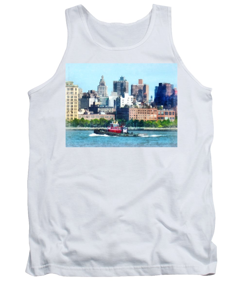 Tugboat Tank Top featuring the photograph Manhattan - Tugboat Against Manhattan Skyline by Susan Savad