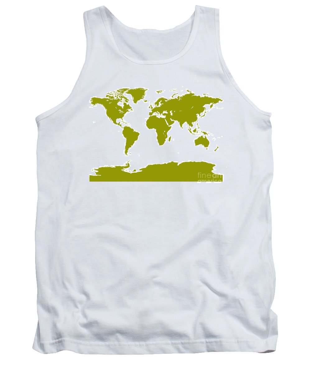 World Tank Top featuring the digital art Map In Olive Green by Jackie Farnsworth