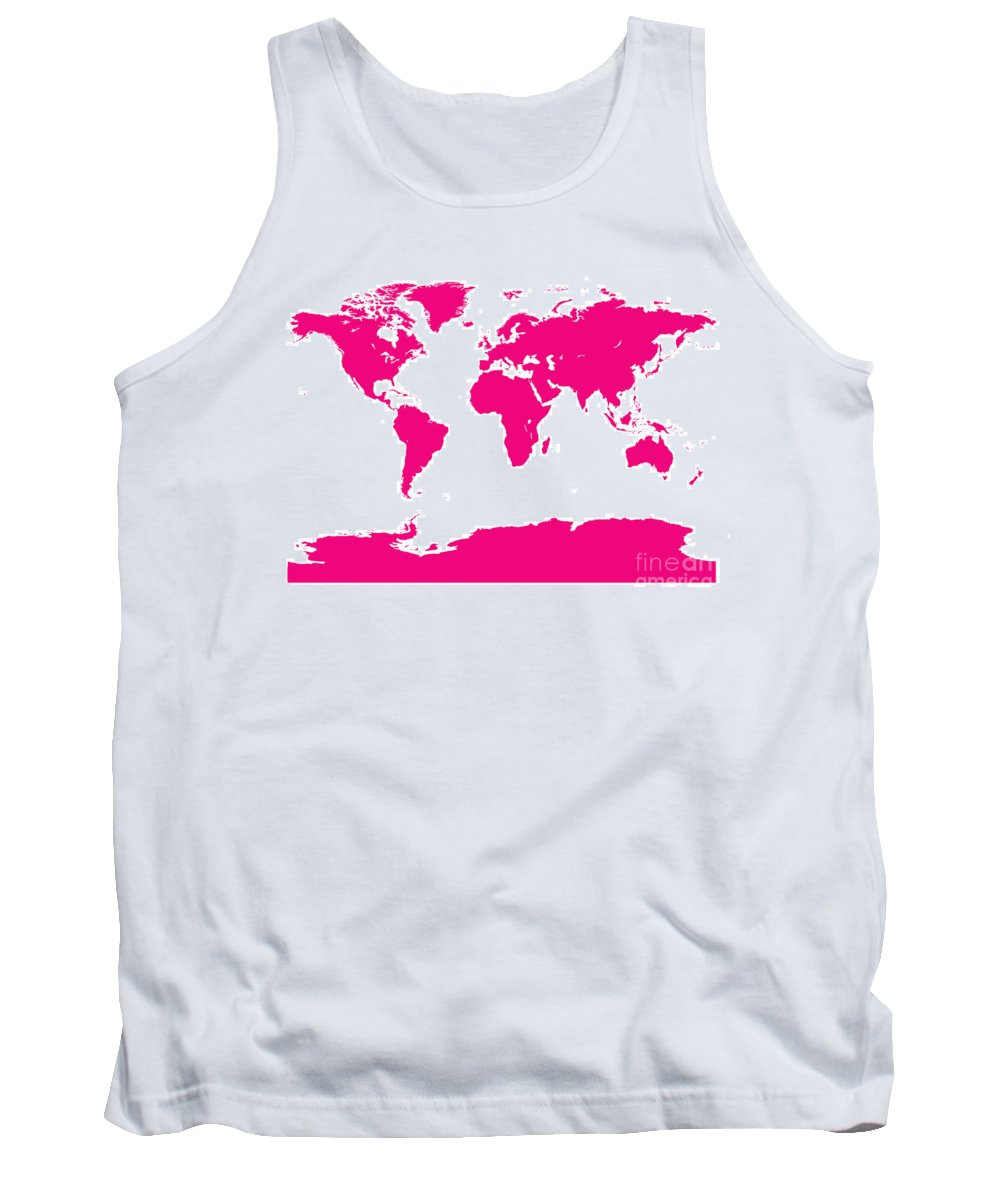 World Tank Top featuring the digital art Map In Pink by Jackie Farnsworth