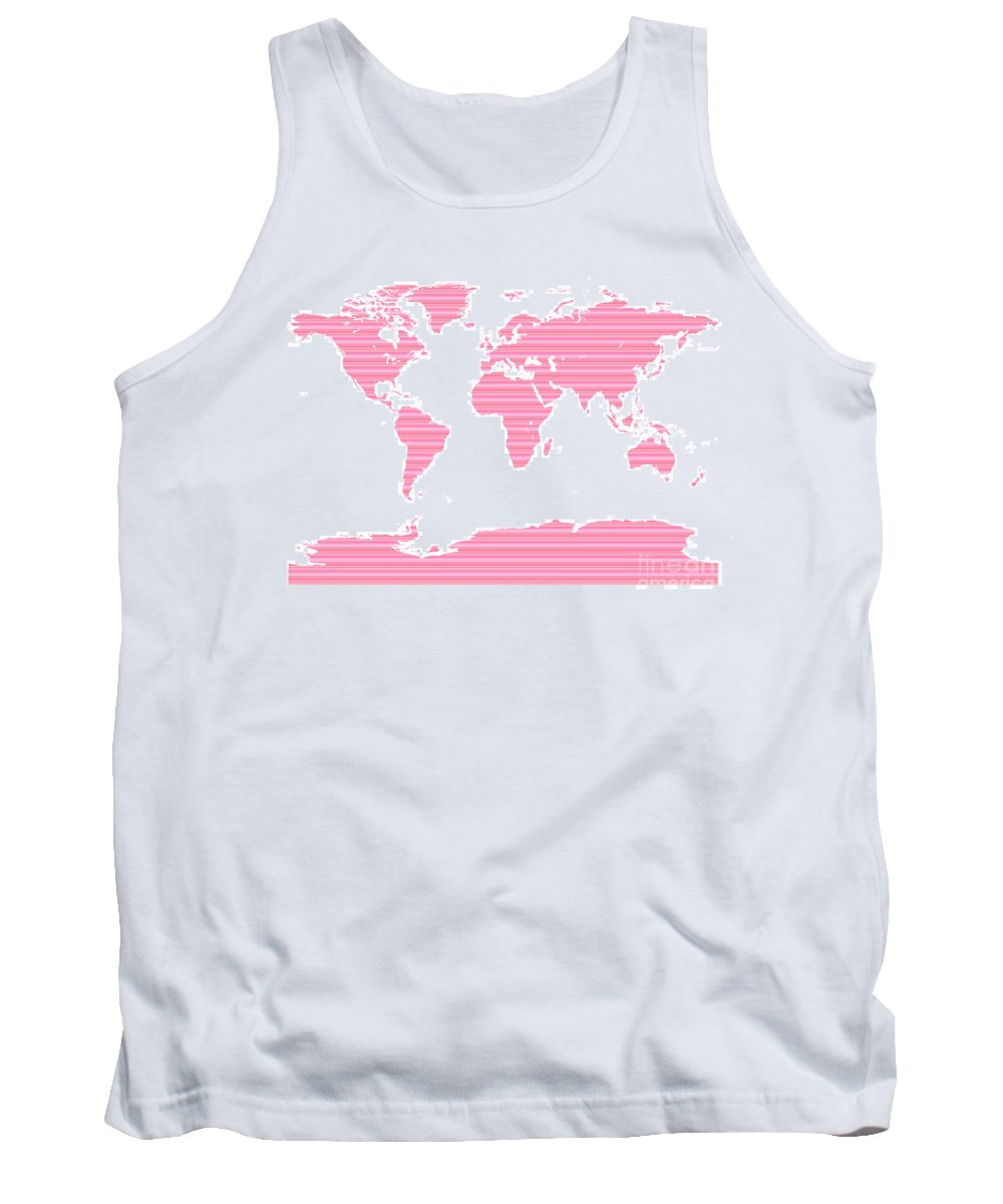 World Tank Top featuring the digital art Map In Pink Stripes by Jackie Farnsworth