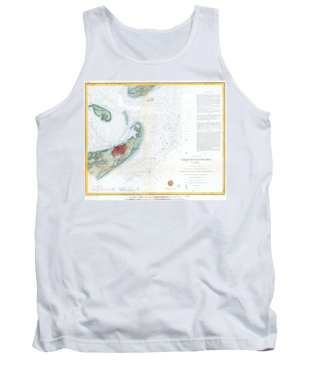 Tank Top featuring the photograph Map Of Galveston City And Harbor Texas by Paul Fearn