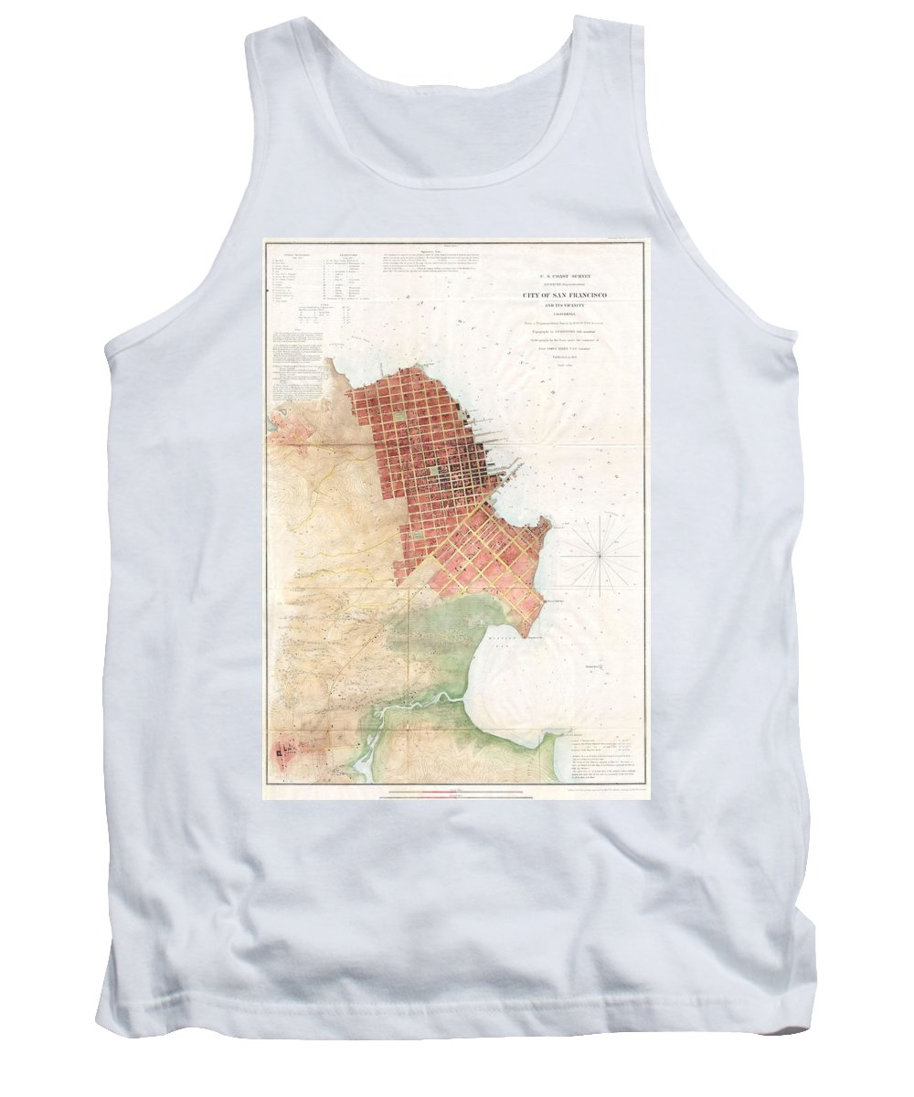 Tank Top featuring the photograph Map Of San Francisco California by Paul Fearn