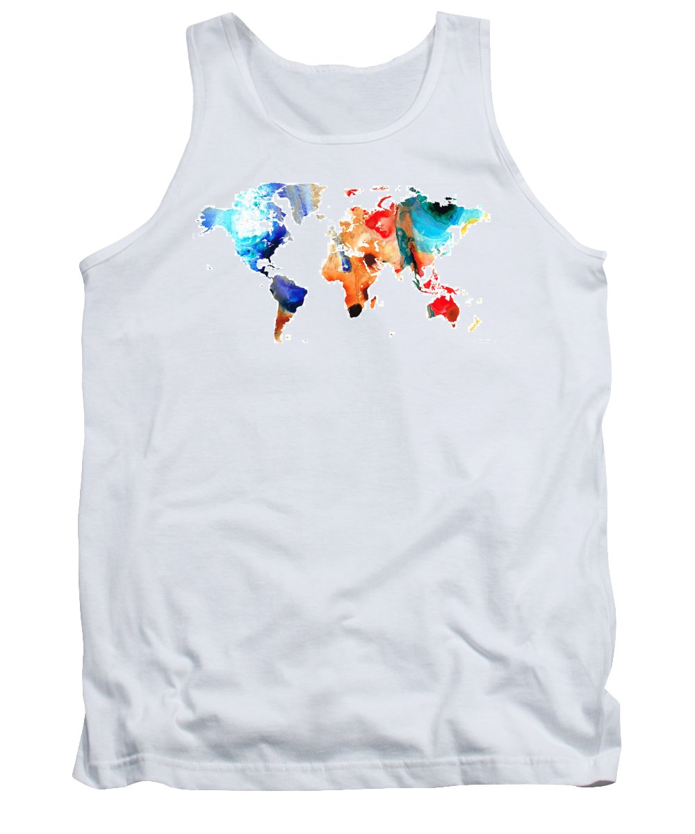 Sharon Cummings Tank Top featuring the painting Map Of The World 8 -colorful Abstract Art by Sharon Cummings