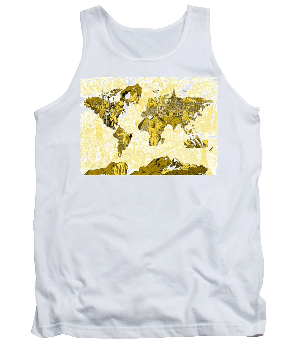 Map Of The World Tank Top featuring the painting Map Of The World Collage by Bekim Art