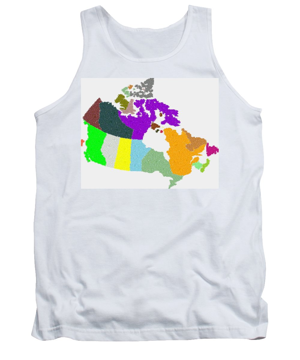Maple Tank Top featuring the digital art Maple Leaves Map Of Canada by Samuel Majcen