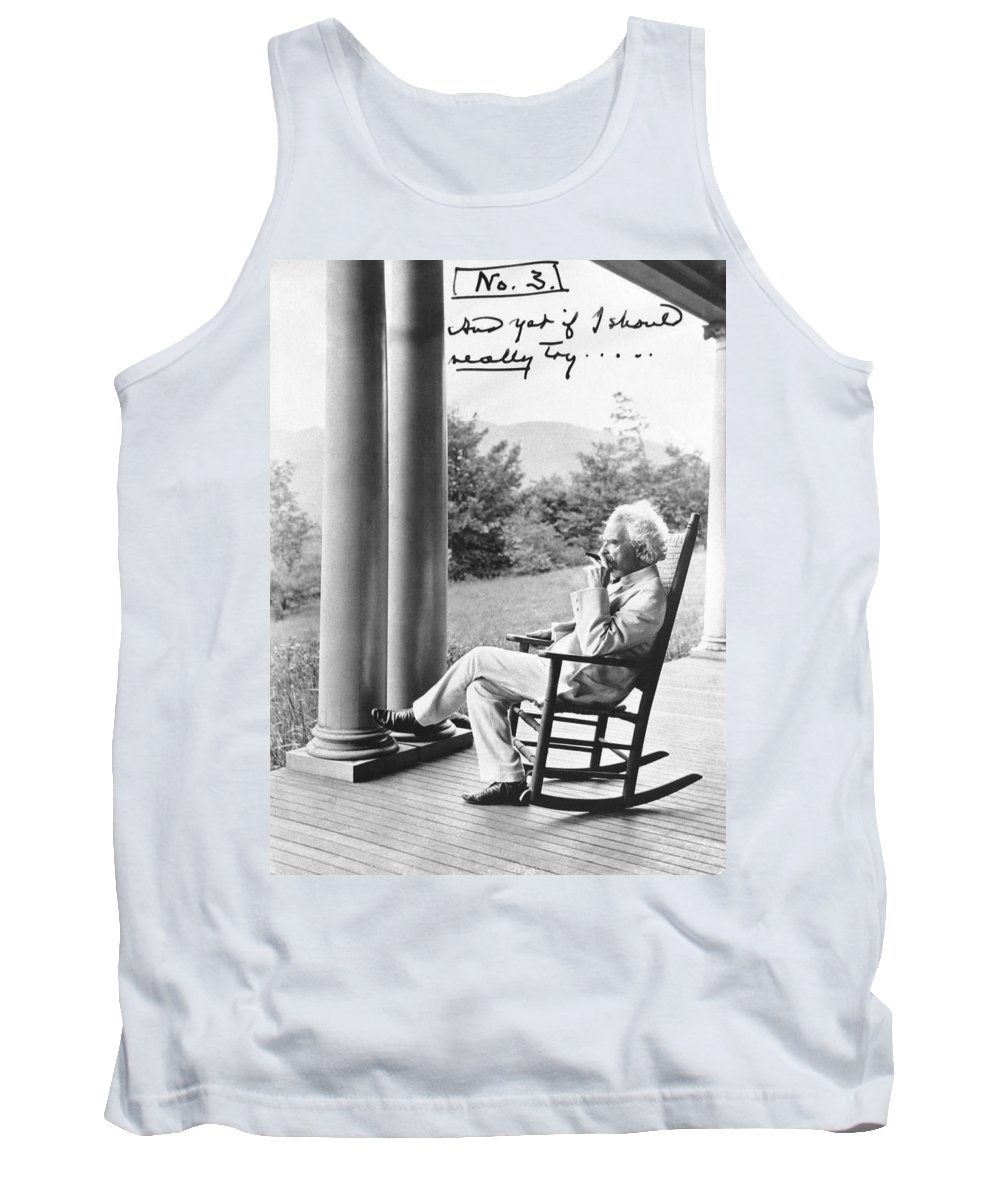 1900's Tank Top featuring the photograph Mark Twain On A Porch by Underwood Archives