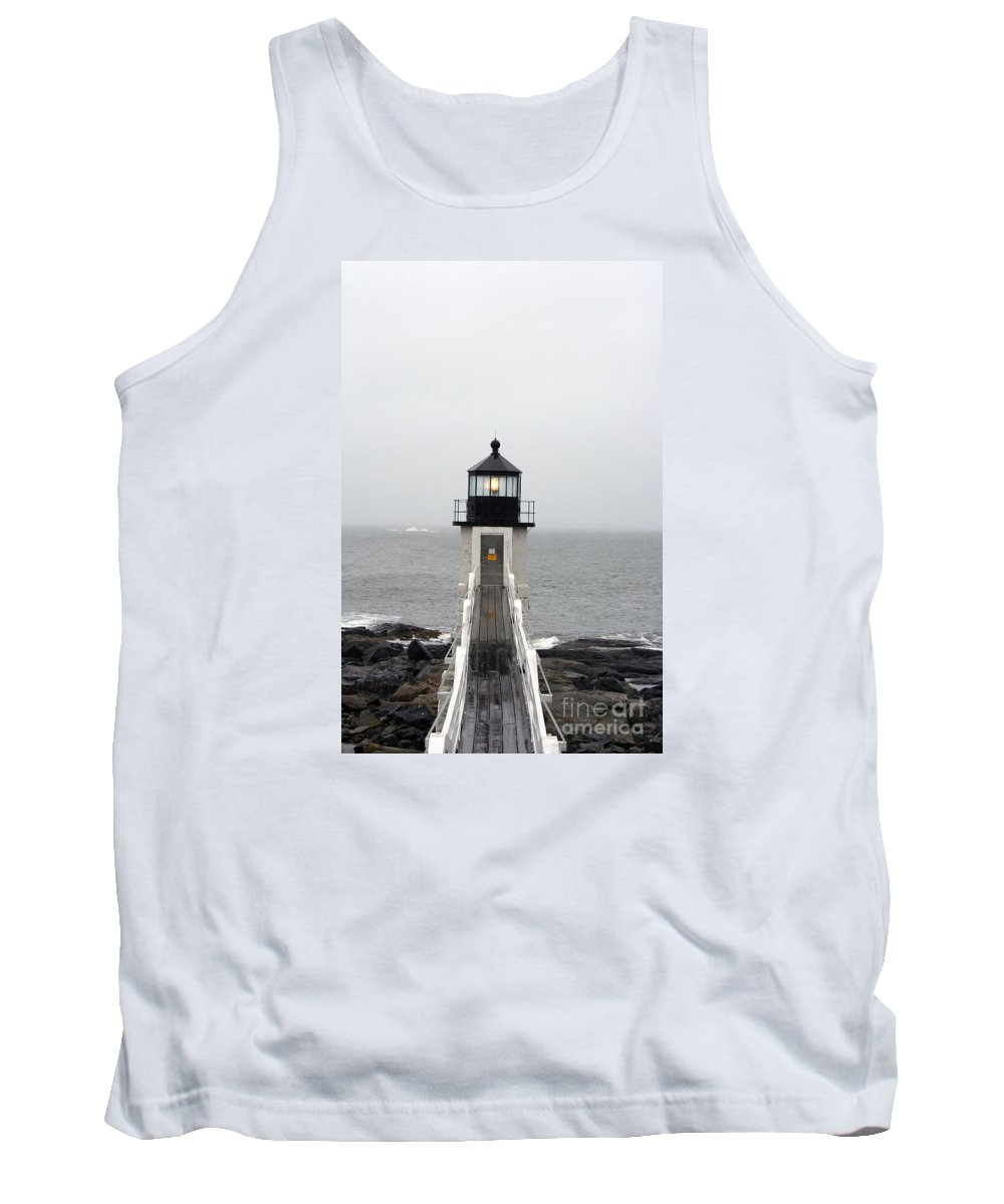 Lighthouse Tank Top featuring the photograph Marshall Point Light On A Foggy Day by Christiane Schulze Art And Photography