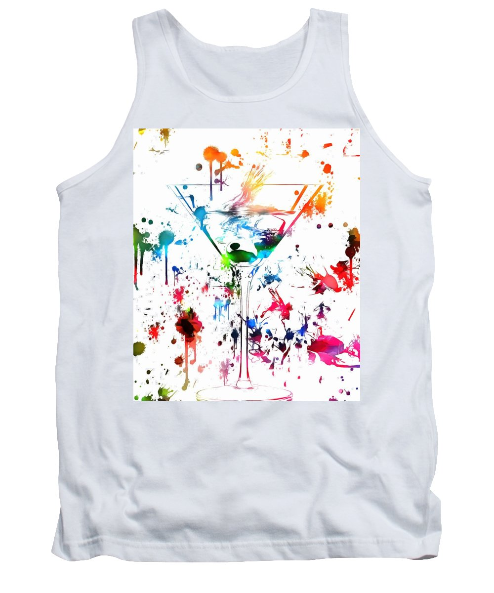 Martini Watercolor Tank Top featuring the painting Martini Paint Splatter by Dan Sproul