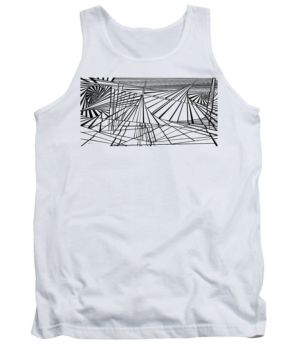 Dynamic Black And White Tank Top featuring the painting Mary Beth's Dream by Douglas Christian Larsen