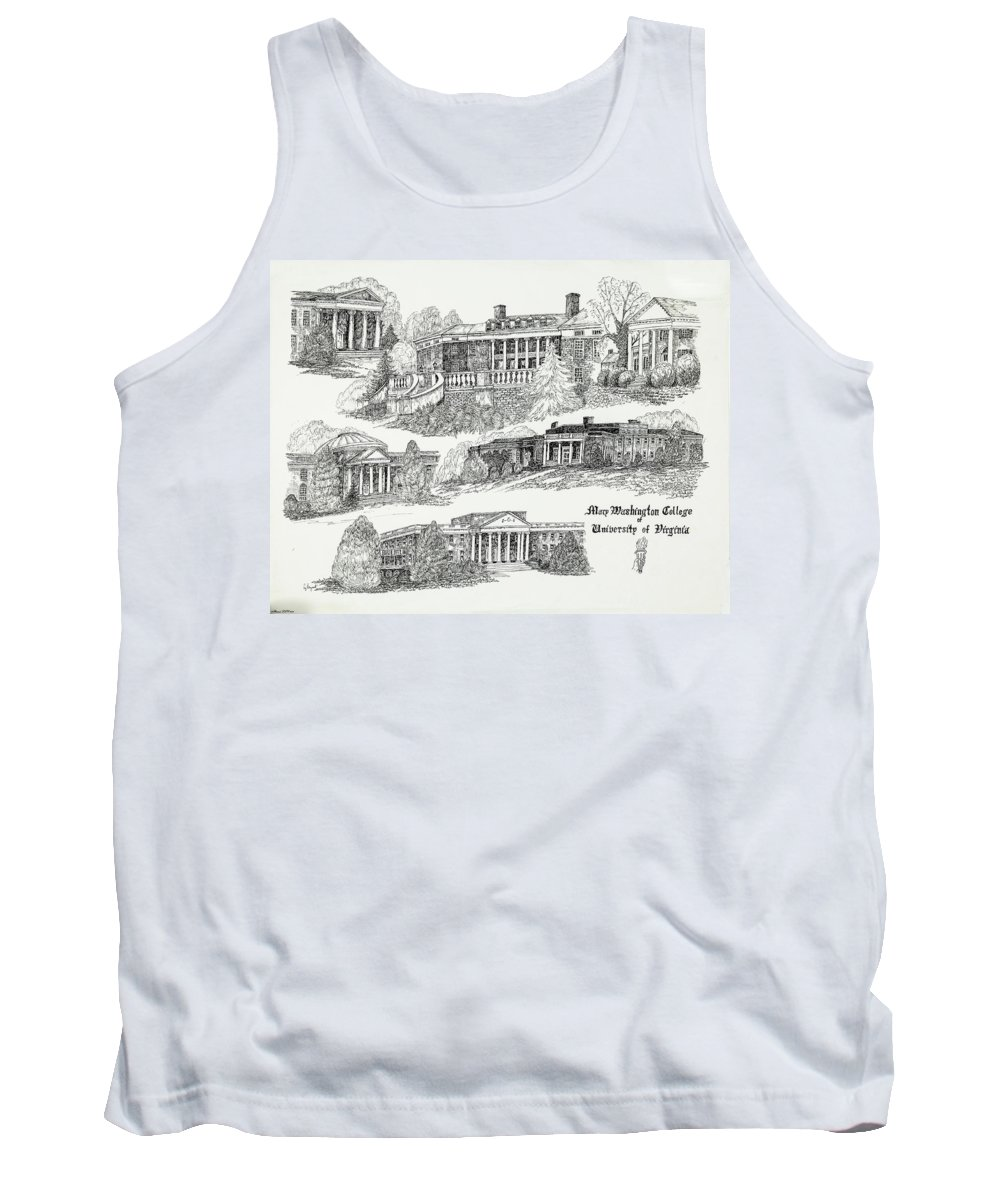 Illustrations Tank Top featuring the digital art Mary Washington College by Jessica Bryant