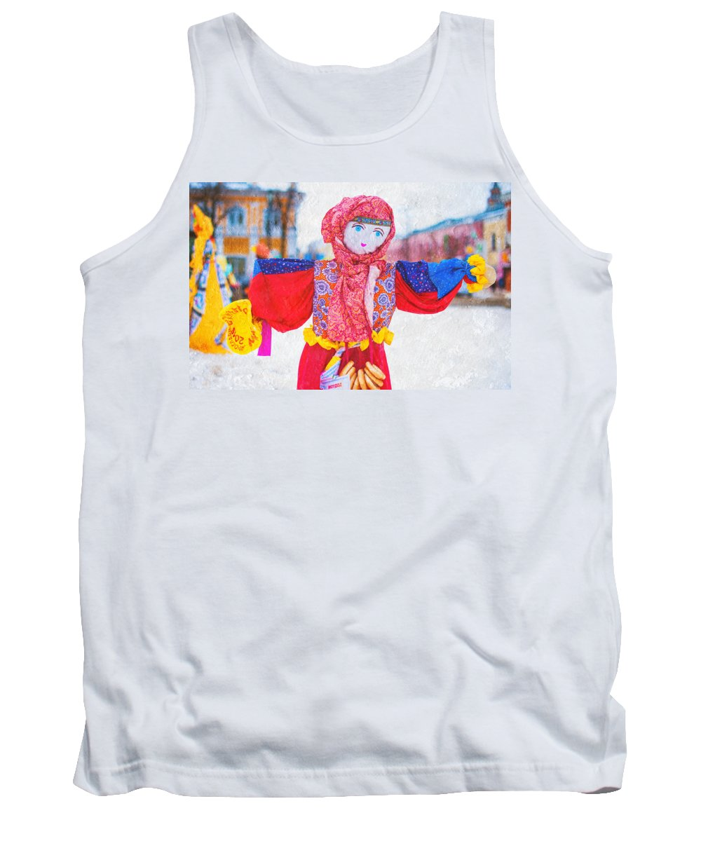 Russia Tank Top featuring the photograph Maslenitsa Dolls 4. Russia by Jenny Rainbow