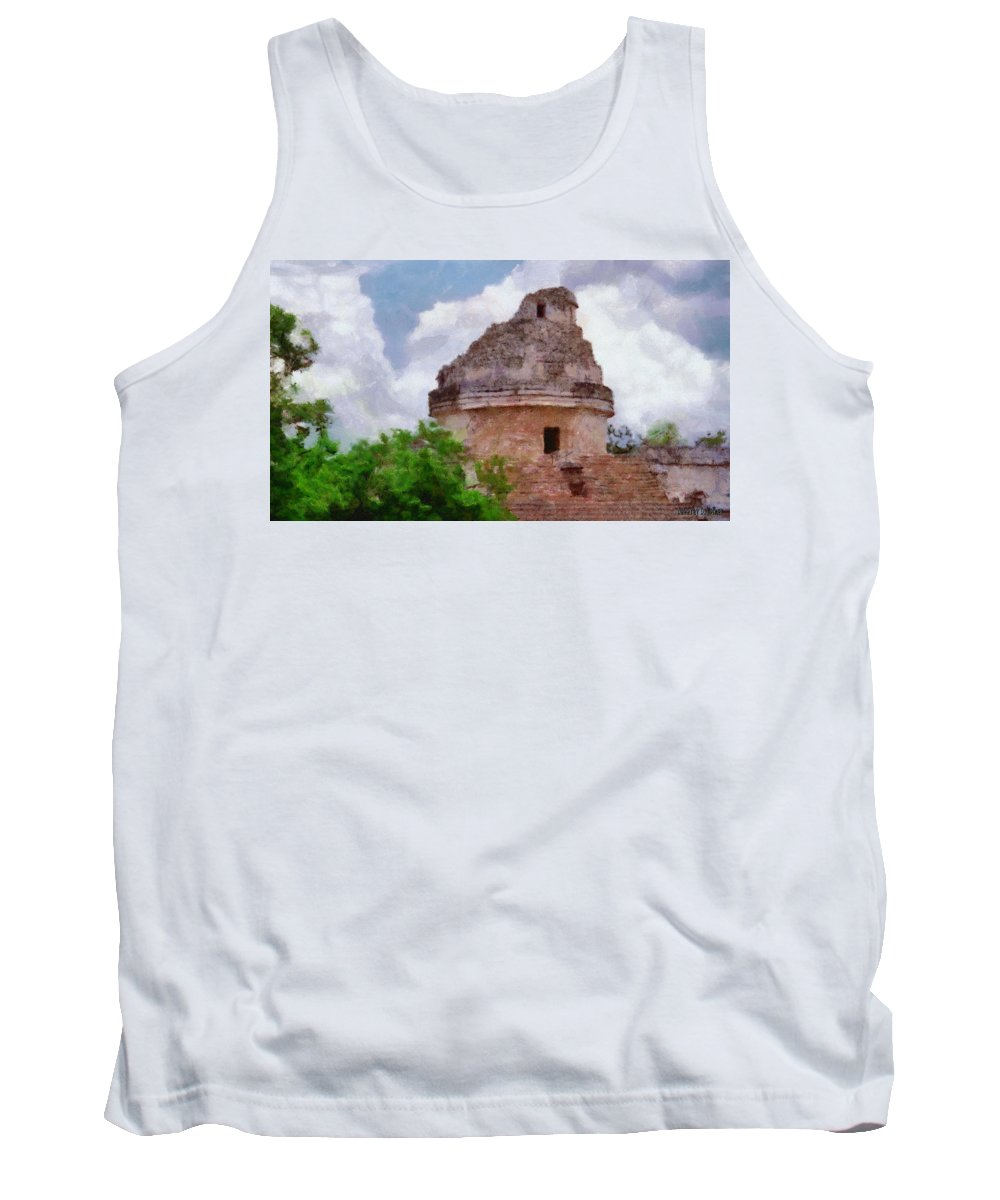 Yucatan Tank Top featuring the painting Mayan Observatory by Jeffrey Kolker