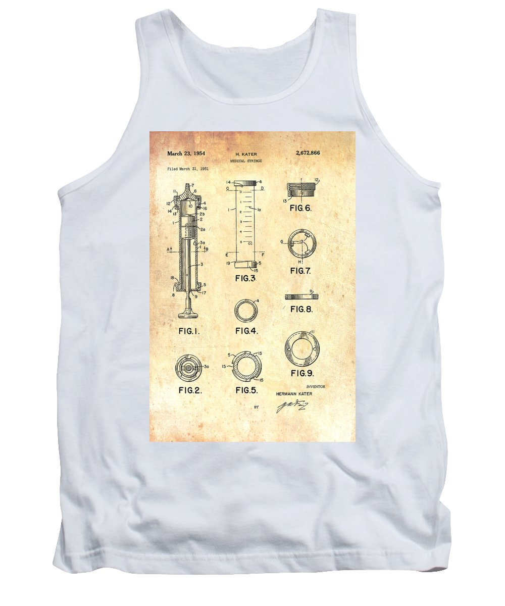 Patent Tank Top featuring the drawing Medical Syringe Patent 1954 by Mountain Dreams