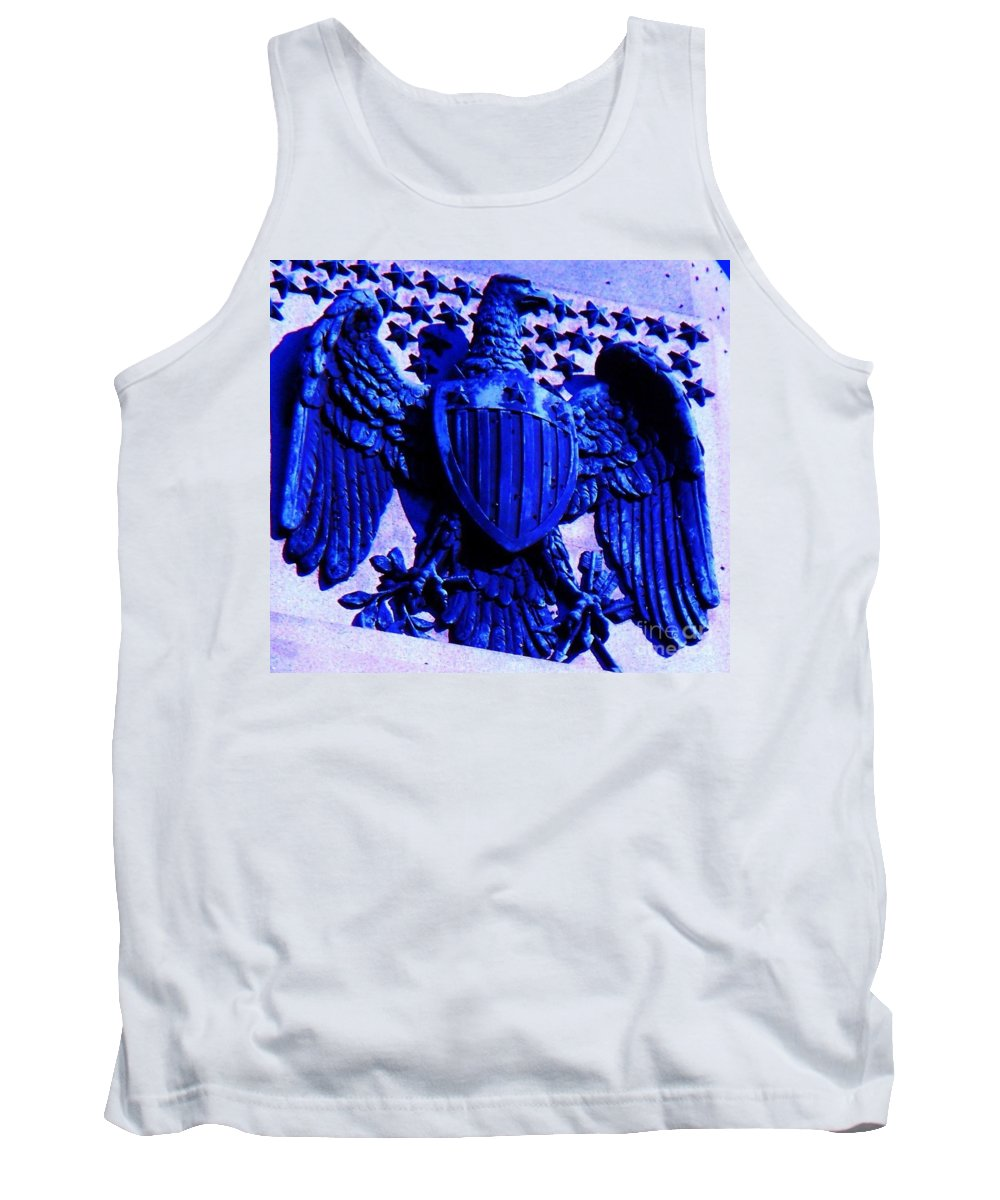 Eagle Tank Top featuring the photograph Metal American Eagle Symbol by Eric Schiabor