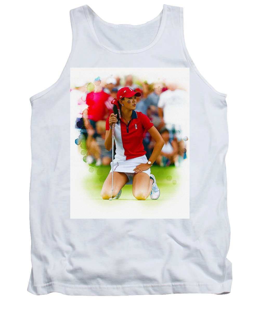 Canada Tank Top featuring the digital art Michelle Wie Of The Usa Solhiem Cup Reacts After Missing A Putt by Don Kuing
