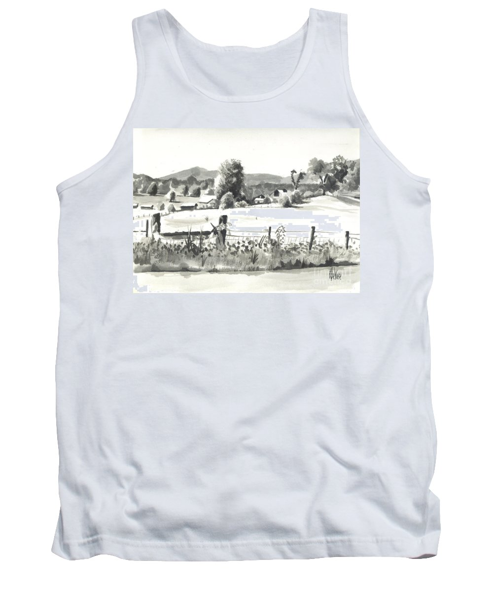 Midsummer View Out Route Jj  No I101 Tank Top featuring the painting Midsummer View Out Route Jj  No I101 by Kip DeVore