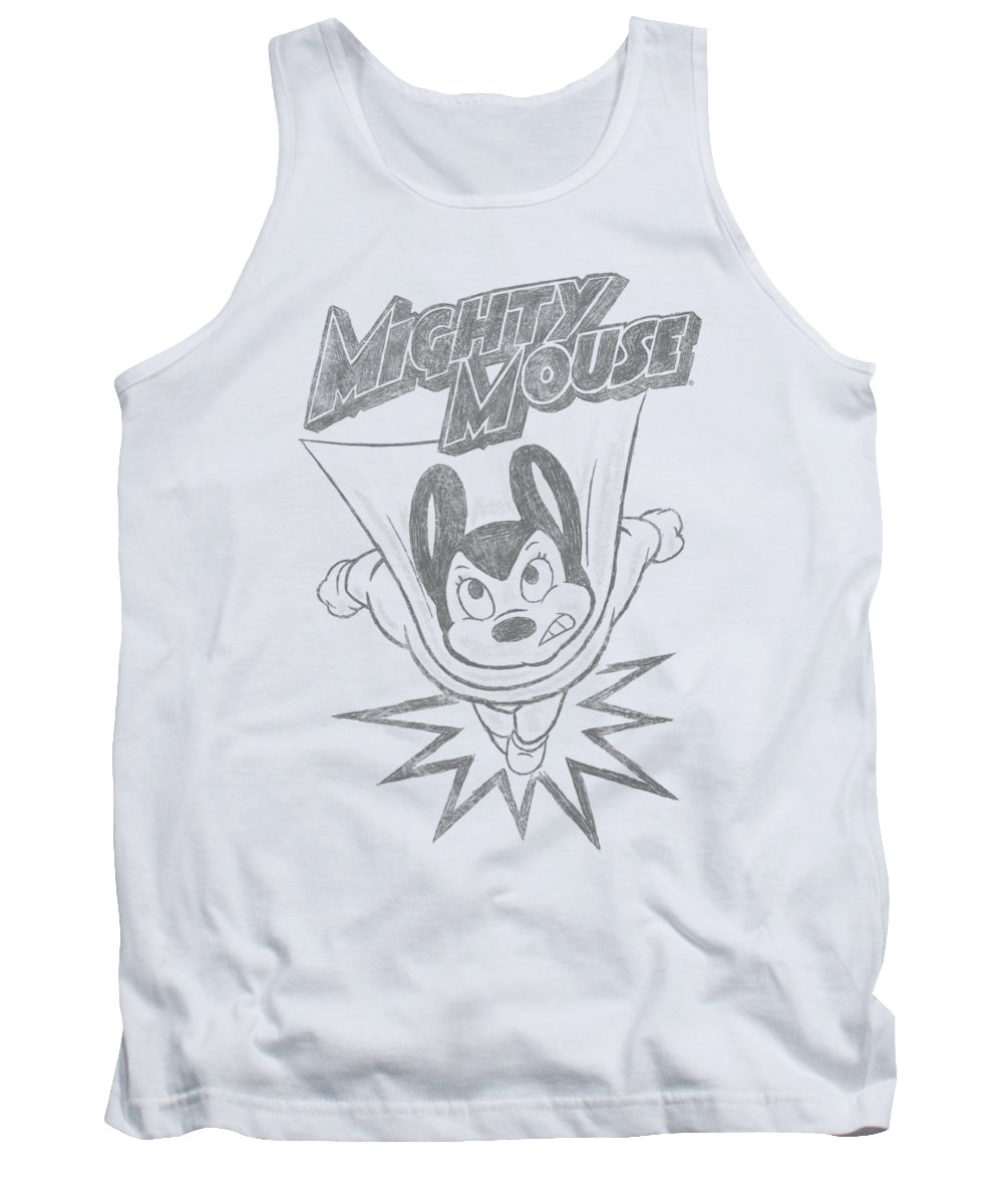 Mighty Mouse Tank Top featuring the digital art Mighty Mouse - Bursting Out by Brand A