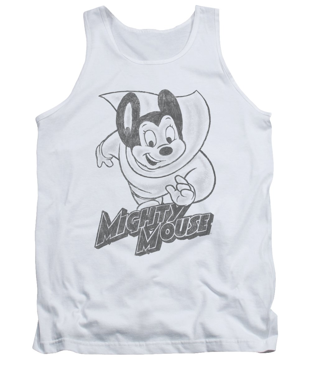 Mighty Mouse Tank Top featuring the digital art Mighty Mouse - Mighty Sketch by Brand A