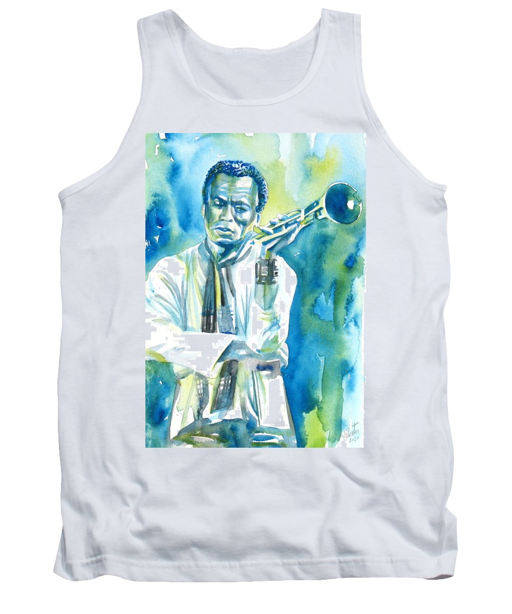 Miles Tank Top featuring the painting Miles Davis Watercolor Portrait.3 by Fabrizio Cassetta