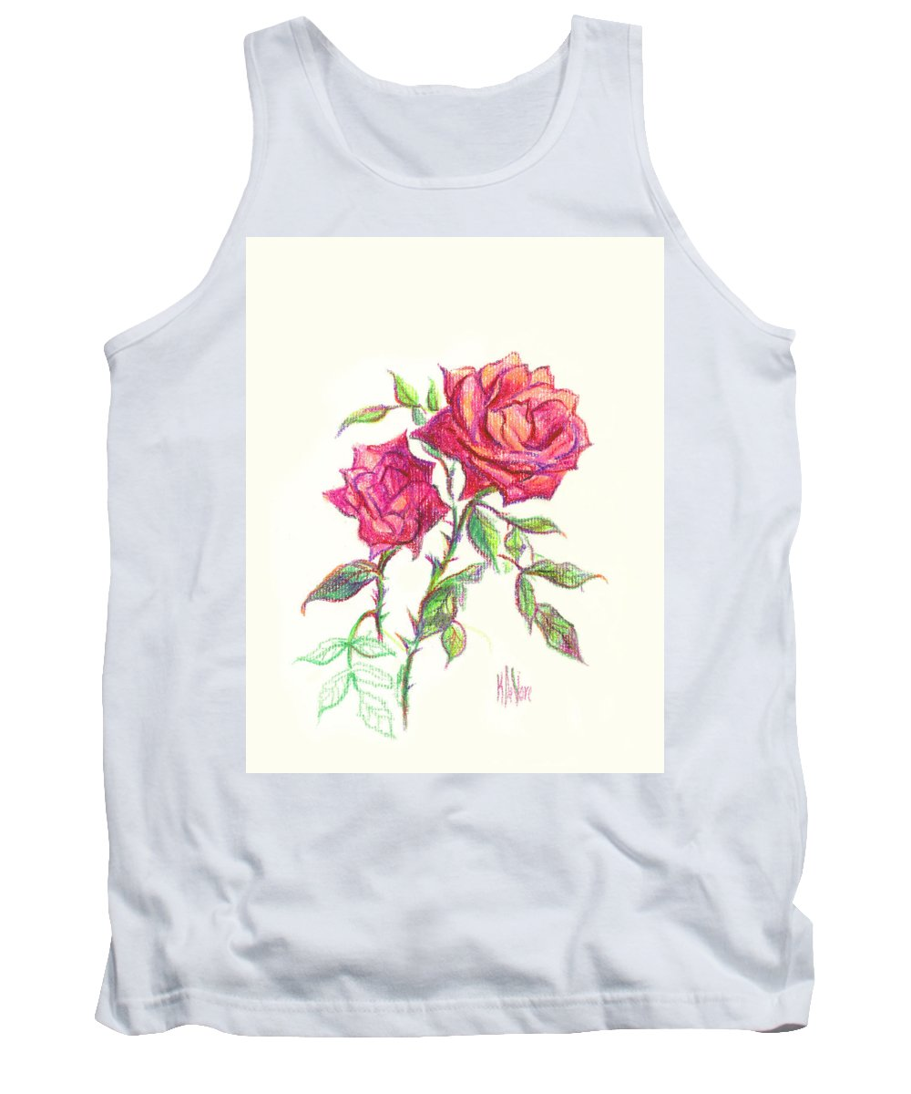 Nature Tank Top featuring the painting Minature Red Rose by Kip DeVore