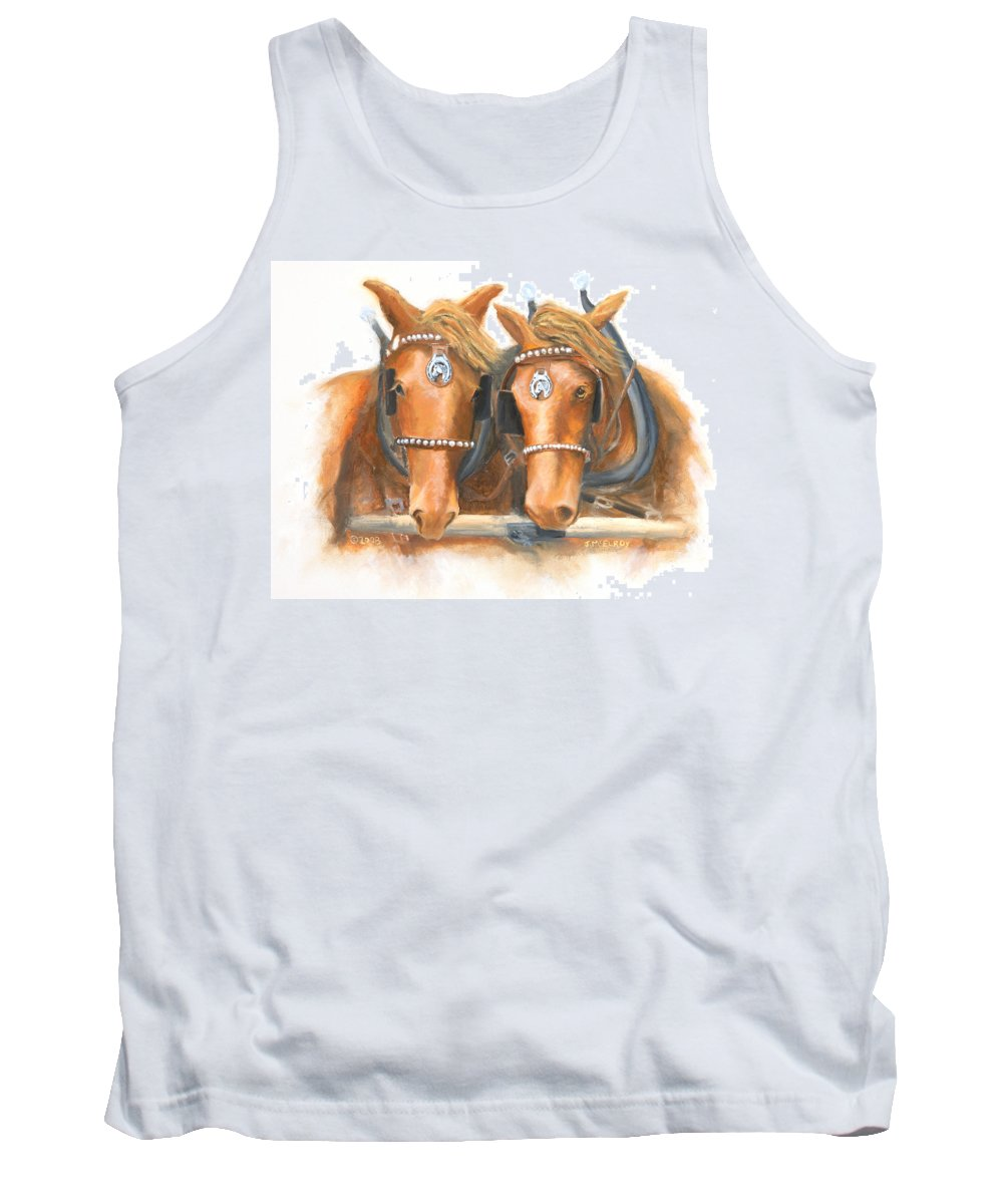 Horse Tank Top featuring the painting Mini And Jake by Jerry McElroy