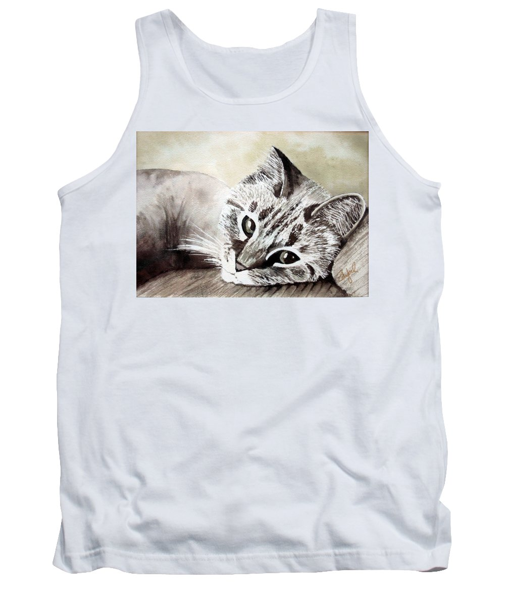 Cat Tank Top featuring the painting Miss Lilly by Rebecca Zdybel