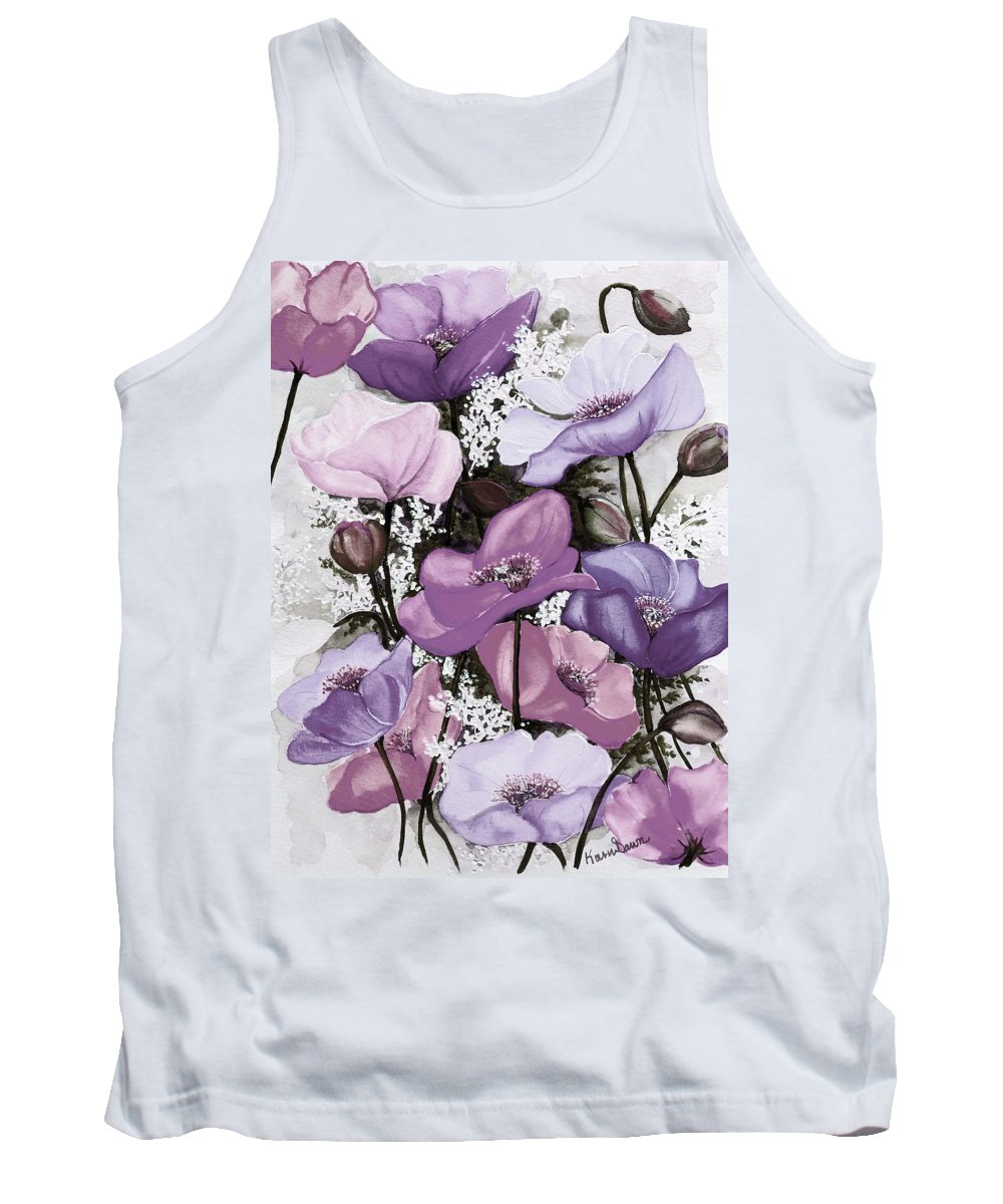 Purple Tank Top featuring the painting Mixed Poppies Purple by Karin Dawn Kelshall- Best