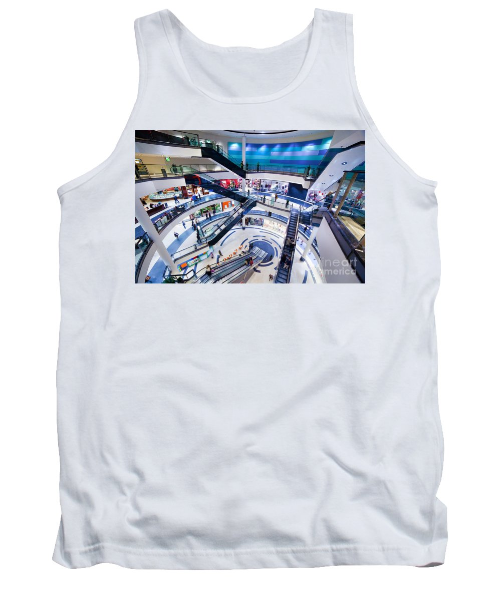 Mall Tank Top featuring the photograph Modern Shopping Mall Interior by Michal Bednarek