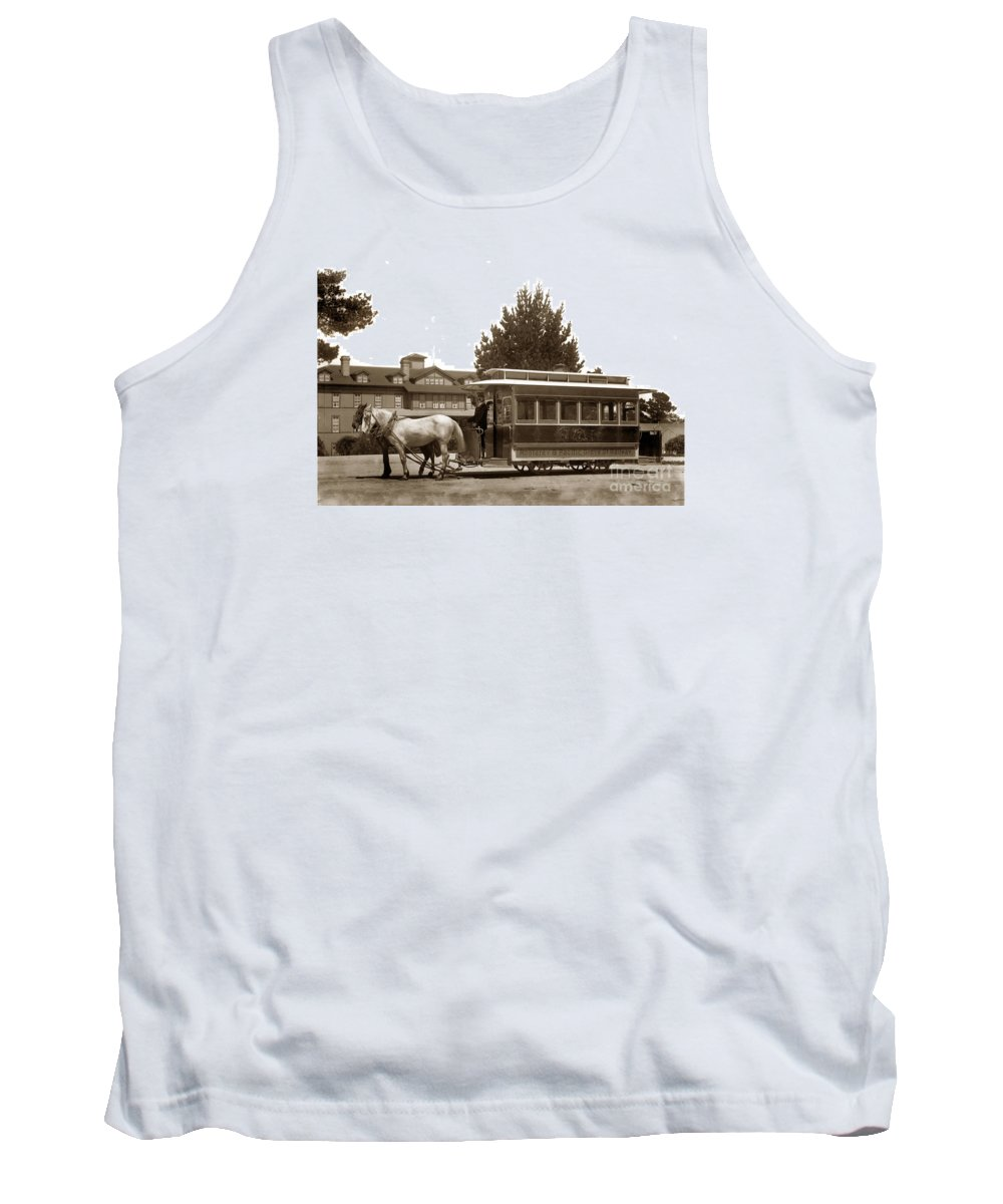 Monterey Tank Top featuring the photograph Monterey And Pacific Grove Street Railway Circa 1895 by California Views Mr Pat Hathaway Archives