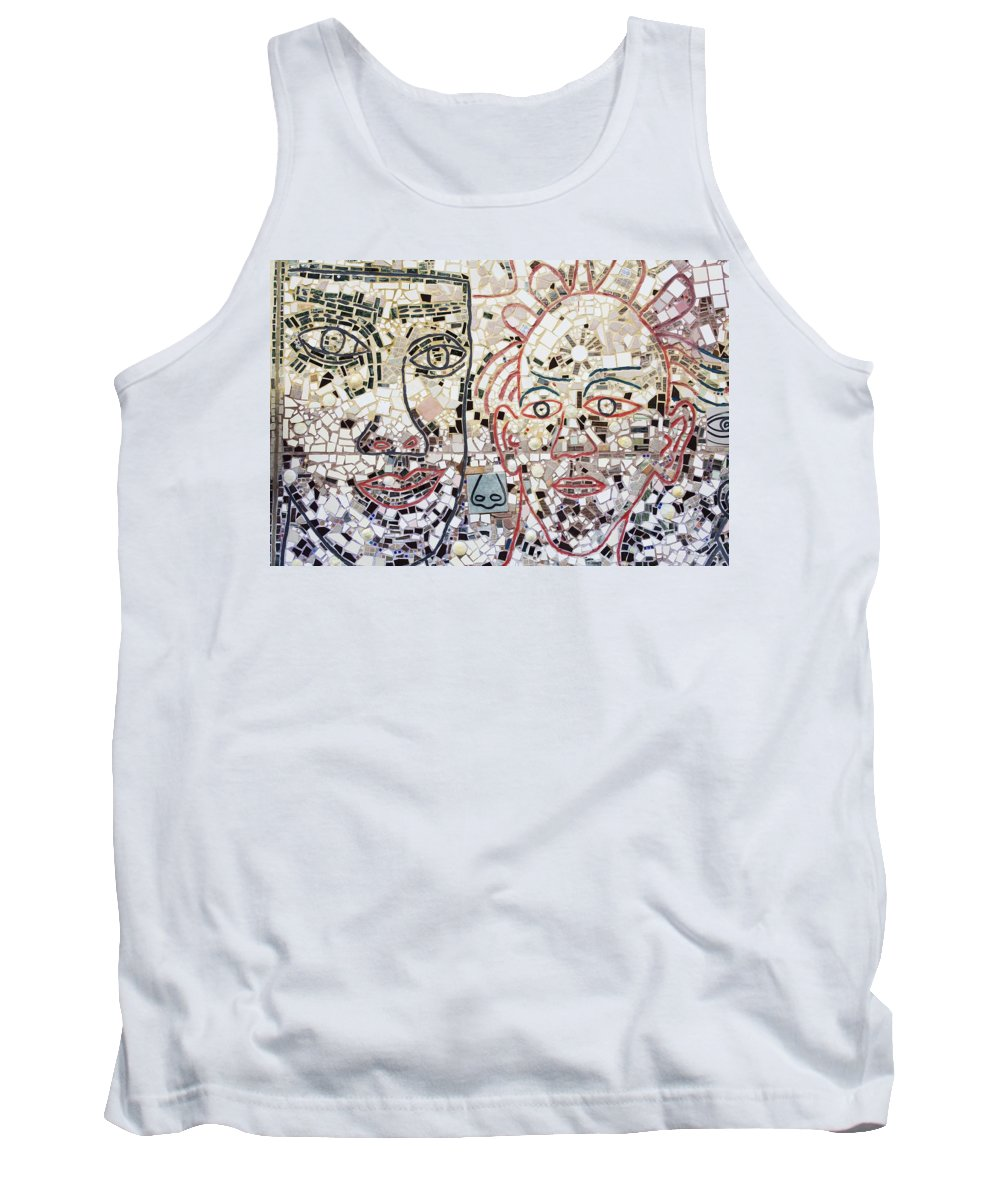 Face Tank Top featuring the photograph Mosaic Tiles On South Street by Richard Cummins