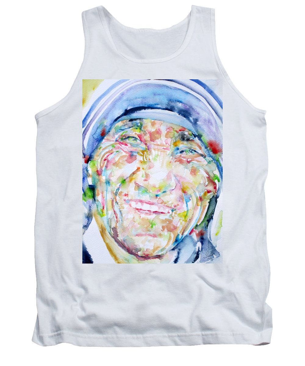 Mother Teresa Tank Top featuring the painting Mother Teresa - Watercolor Portrait by Fabrizio Cassetta