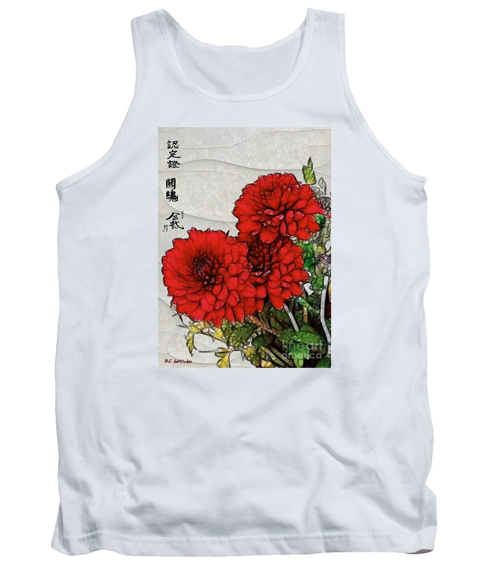 Chrysanthemums Tank Top featuring the painting Motif Japonica No. 7 by RC DeWinter