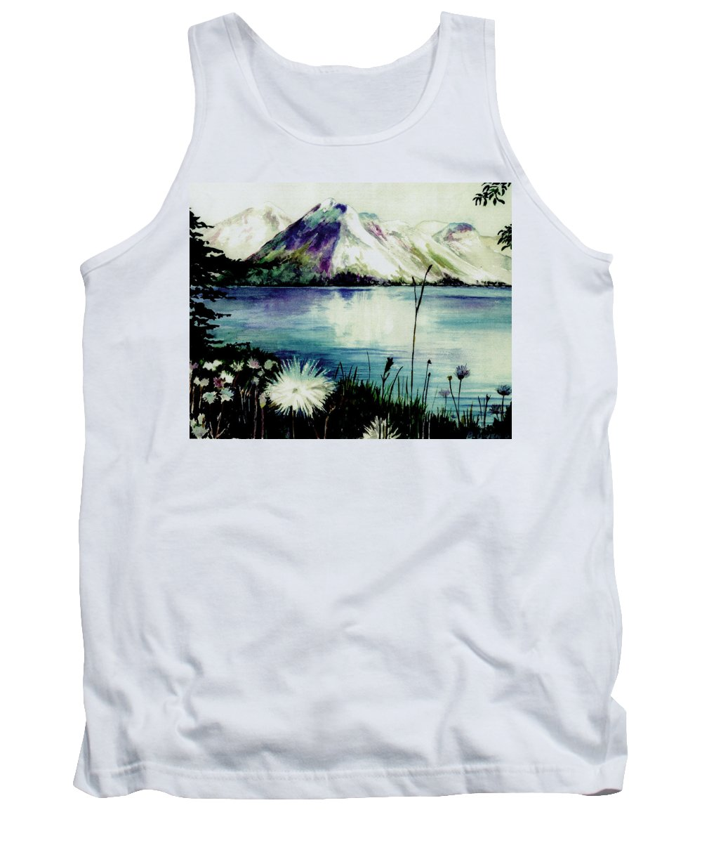 Landscape Tank Top featuring the painting Mountain Serenity by Brenda Owen