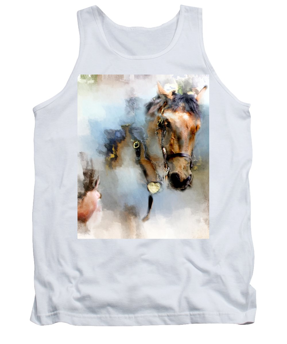 Evie Tank Top featuring the photograph Mounted New York Sunday by Evie Carrier