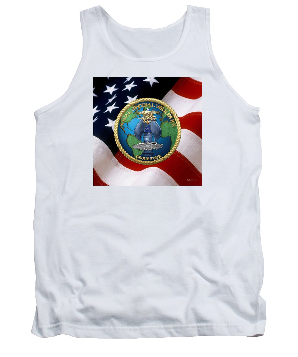'military Insignia & Heraldry - Nswc' Collection By Serge Averbukh Tank Top featuring the digital art Naval Special Warfare Group Four - N S W G-4 - Over U. S. Flag by Serge Averbukh