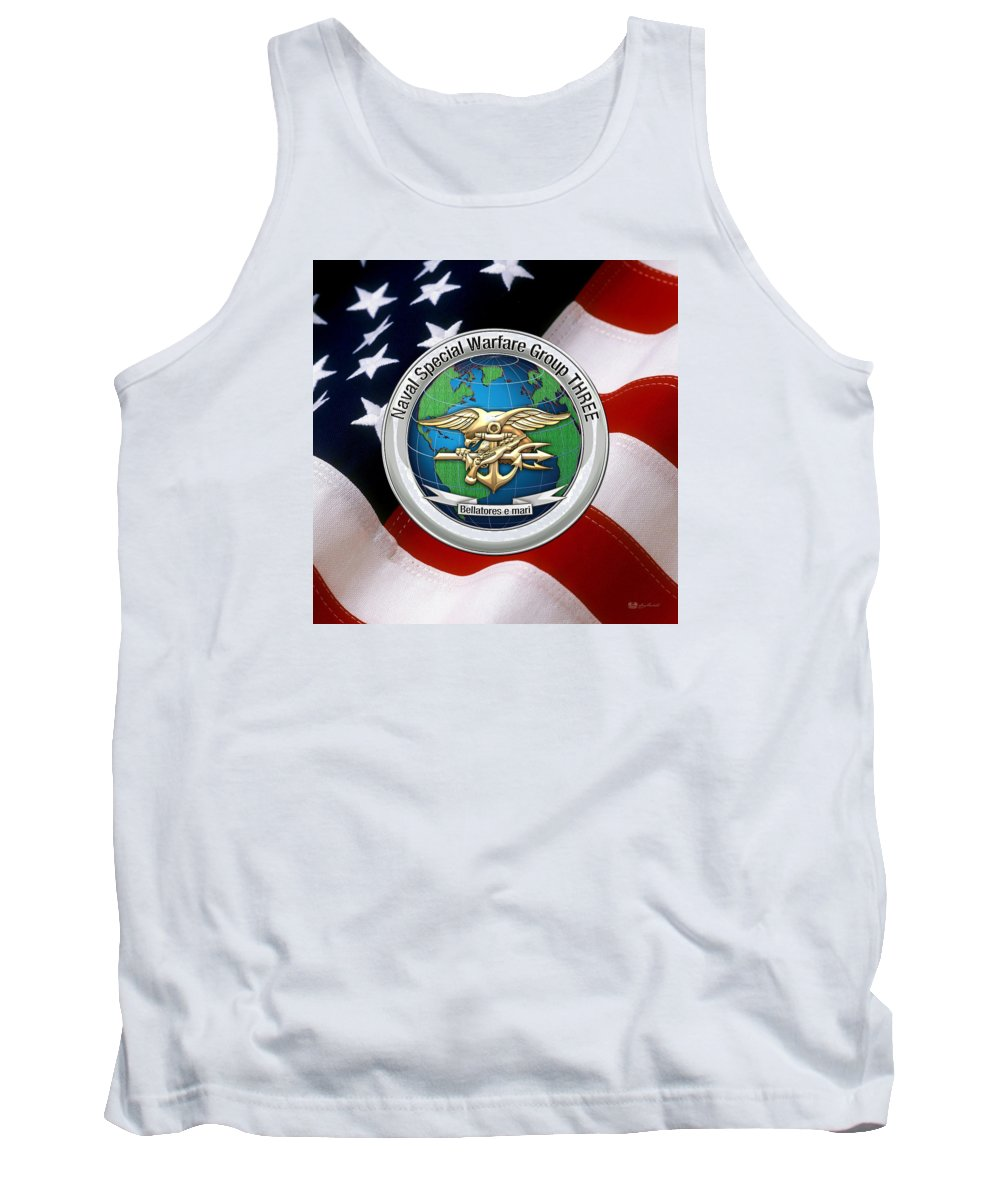 'military Insignia & Heraldry - Nswc' Collection By Serge Averbukh Tank Top featuring the digital art Naval Special Warfare Group Three - N S W G-3 - Over U. S. Flag by Serge Averbukh