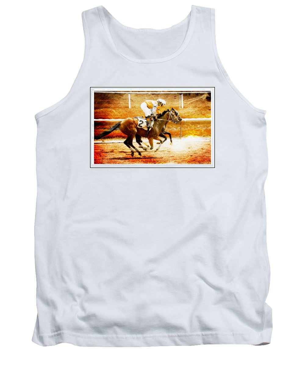 Horses Tank Top featuring the photograph Neck And Neck by Alice Gipson