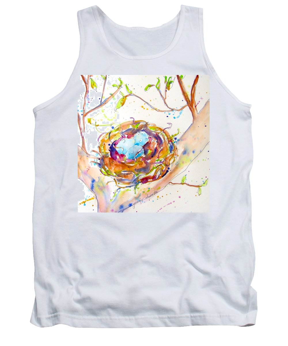 Bird Nest Tank Top featuring the painting New Life by Jennifer Edwards