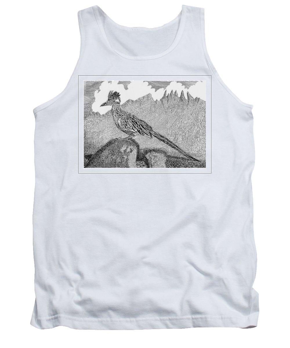 Organ Mountains-desert Peaks National Monument Tank Top featuring the drawing New Mexico Roadrunner by Jack Pumphrey