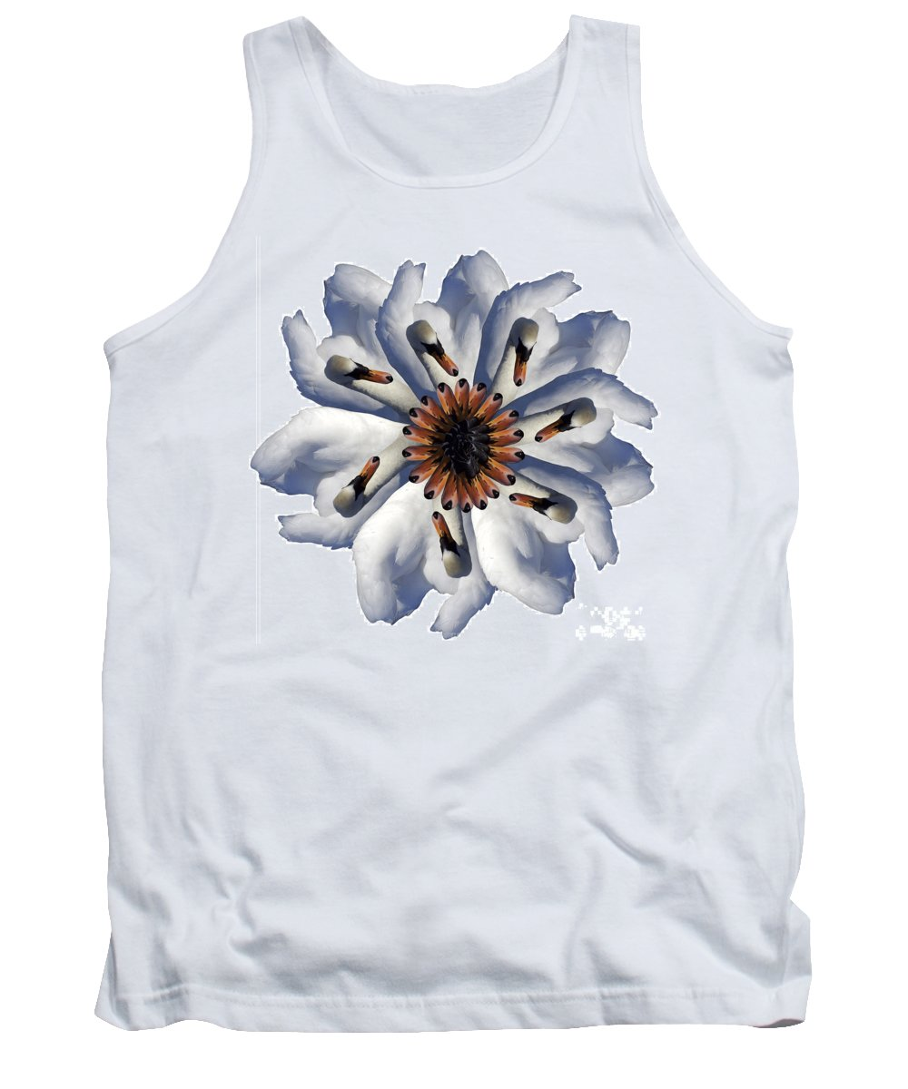 Daisy Tank Top featuring the photograph New Photographic Art Print For Sale Pop Art Swan Flower On White by Toula Mavridou-Messer