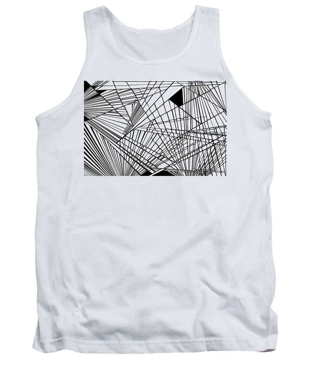 Dynamic Black And White Tank Top featuring the painting New Times by Douglas Christian Larsen