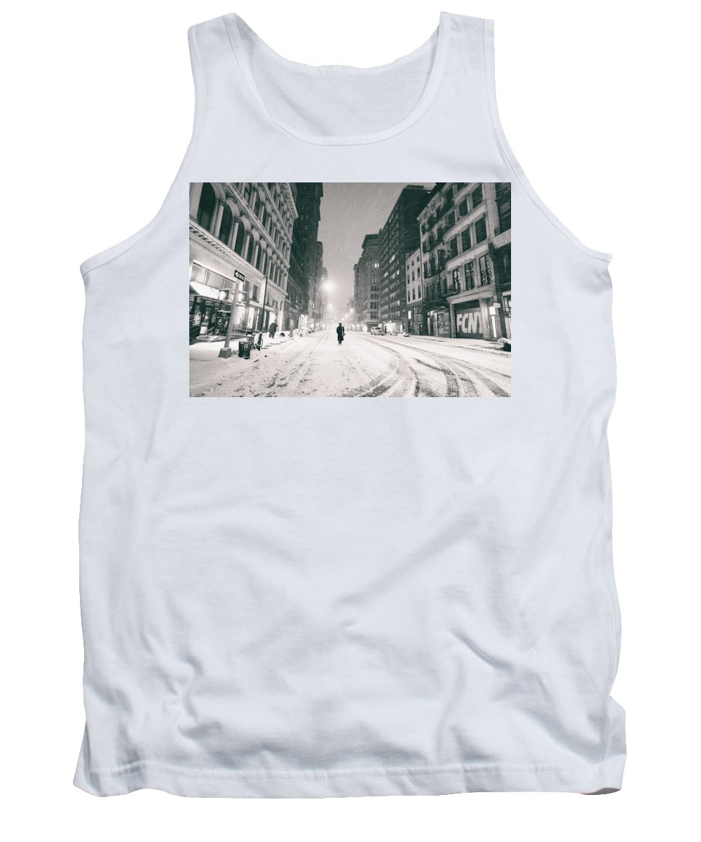 Nyc Tank Top featuring the photograph New York City - Snow - Empty Streets At Night by Vivienne Gucwa