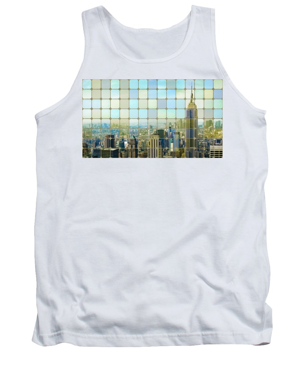 New York Tank Top featuring the photograph New York Golden Panorama by Florian Rodarte