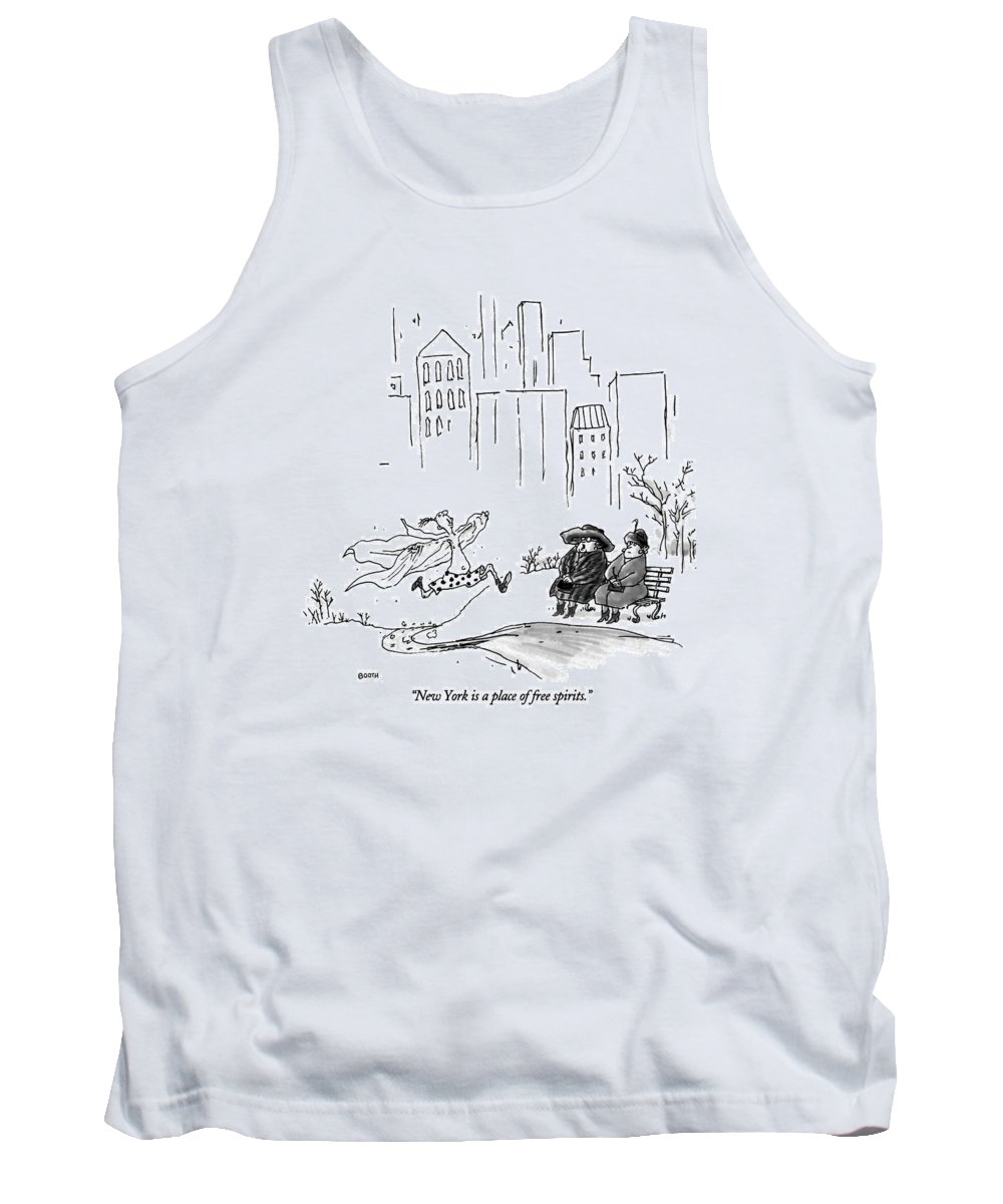 (elderly Woman To Another Sitting On A Park Bench In Central Park Tank Top featuring the drawing New York Is A Place Of Free Spirits by George Booth