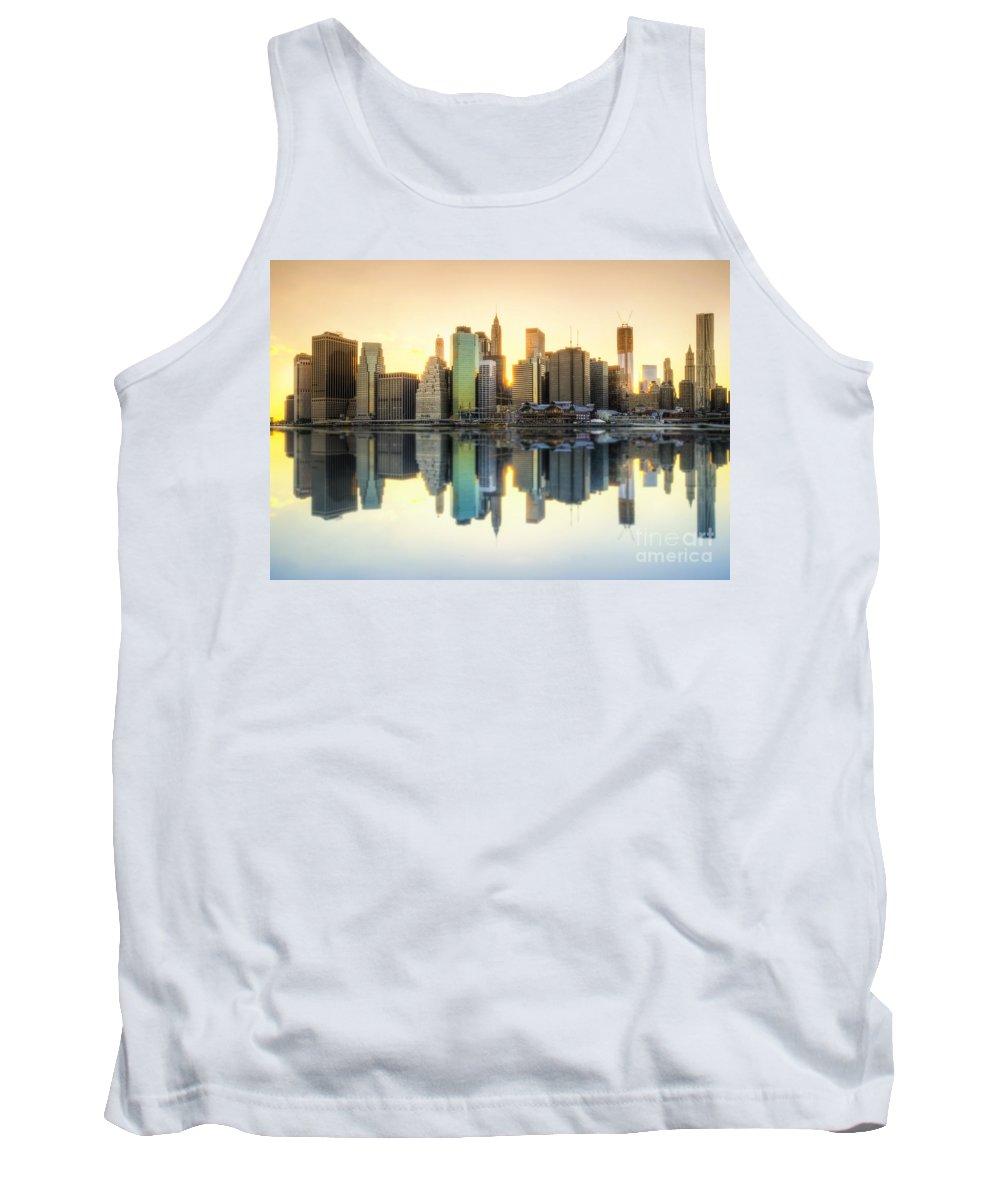 Yhun Suarez Tank Top featuring the photograph New York Skyline Sunset by Yhun Suarez