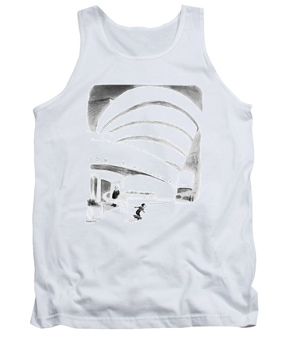 (boy Rides Out Of Guggenheim Museum On A Skateboard.) Architecture Tank Top featuring the drawing New Yorker August 16th, 1976 by James Stevenson