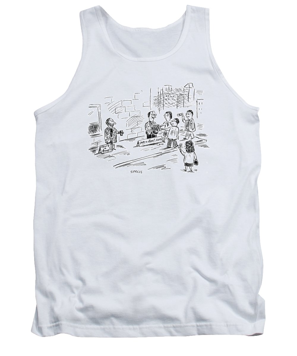Spare Change Tank Top featuring the drawing New Yorker August 16th, 1999 by David Sipress