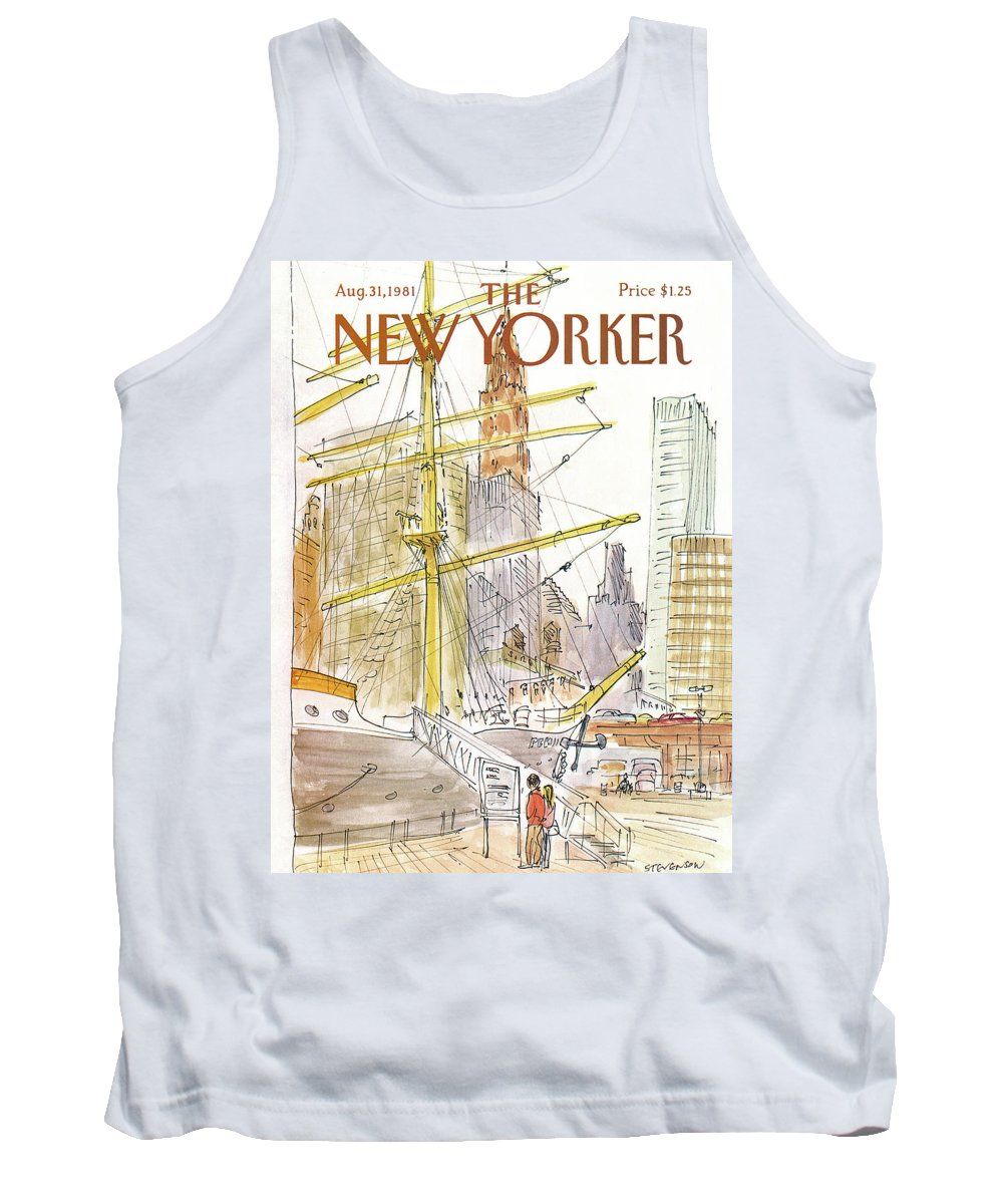 Skyline Tank Top featuring the painting New Yorker August 31st, 1981 by James Stevenson